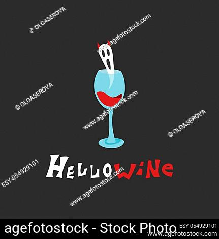 Flat Halloween illustration of a ghost with horns flying from a glass of wine. Cartoon spirit and hand-drawn joke lettering Hello Wine on a black background