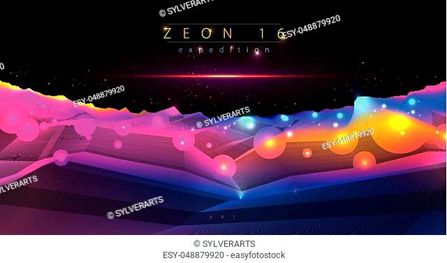 Science fiction vector cosmic illustration, space fantastic planet 3d line drawing. Usable as abstract background with copy space for title and text