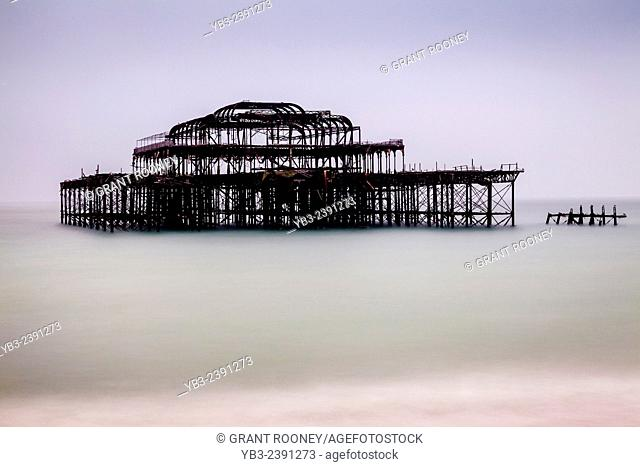 The West Pier (destroyed by fire), Brighton, Sussex, UK
