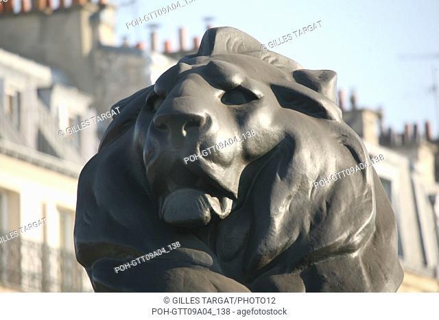 tourism, France, paris 14th arrondissement, place denfert rochereau, denfert rochereau square, lion of belfort, national defense, statue Photo Gilles Targat