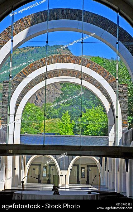 arcades, Basilica, Sanctuary, Nostra, Senyora, Meritxell, 1975, architect, Ricard, Bofill, Canillo, Andorra