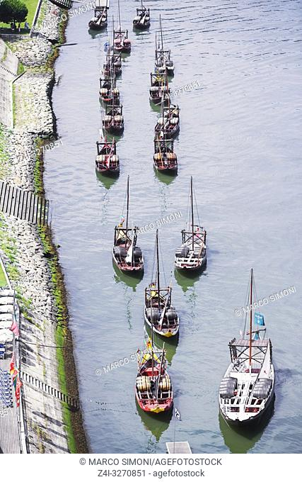 Rabelos boats on the River Douro, Porto, Portugal, Europe