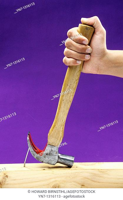 studio image of hand using a claw hammer to remove a nail from a piece of timber