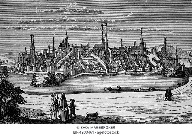 Luebeck in the 13th Century, Schleswig-Holstein, Germany, historical woodcut, circa 1870