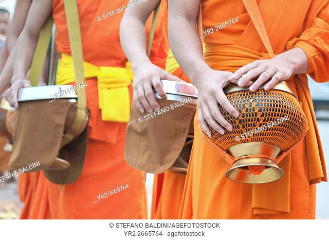 Monks collecting morning alms, Luang Prabang, Laos