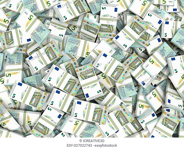 Money. Five euros. 3D illustration