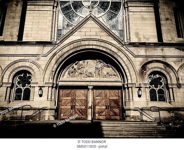 Front of Saint Vincent De Paul Catholic Church. Chicago, Illinois