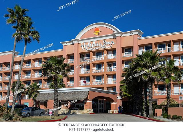 The exterior of the Holiday Inn Sunspree Resort in Galveston, Texas, USA