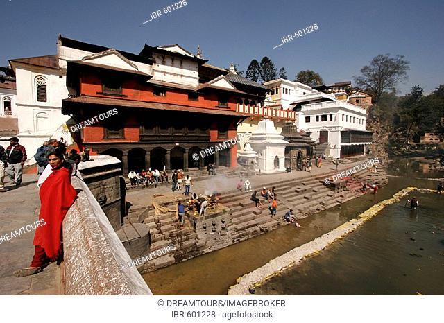 Pashupatinath Temple and crematorium site, ghats at Bagmati River, Kathmandu, Nepal, Asia
