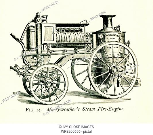 This illustration dates to the 1870s and shows Merryweather's Steam Fire Engine. Merryweather &Sons was an 1800s firm in the Clapham (later Greenwich) section...