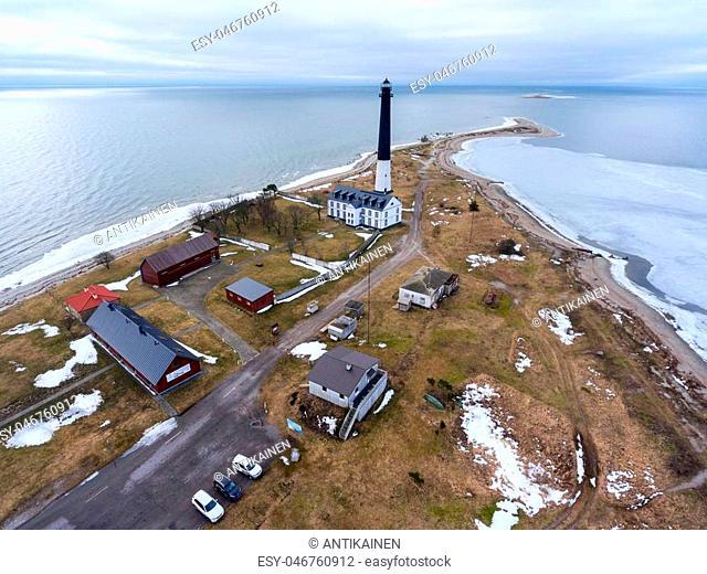 Aerial view at Sorve Lighthouse in Baltic sea at spring season. Panorama. Peninsula in Torgu Parish, island Saaremaa, Estonia, Europe