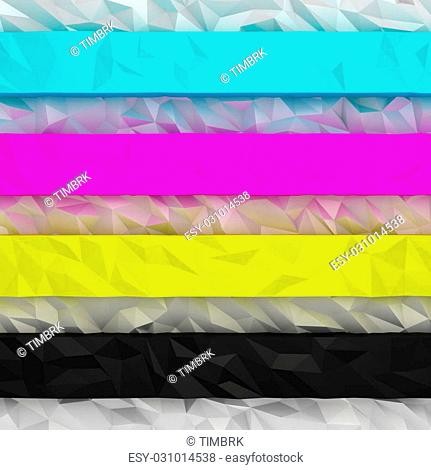 CMYK striped background with low-poly effect
