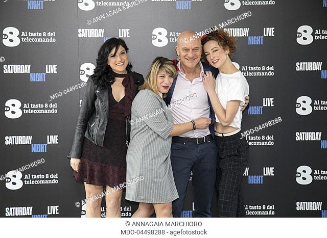 Italian actors Claudio Bisio, Annagaia Marchioro, Mary Sarnataro, Marta Zoboli at Saturday Night Live tv show photocall. Milano, April 6th 2018