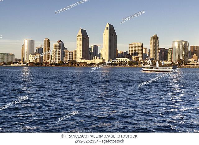 Panoramic view of downtown San Diego from Coronado Island. San Diego, California, USA