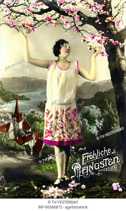 kitsch / souvenir, greetings card, Happy Whitsun, Germany, picture postcard, 1933