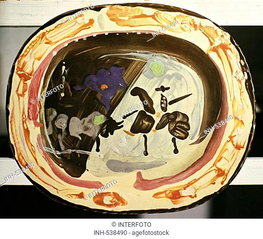 fine arts, Picasso, Pablo 1881 - 1973, picador with bull, ceramic, 1948, Picasso-Museum, Antibes, bowl, plate, dish, glaze, handcraft, 20th century, bull fight