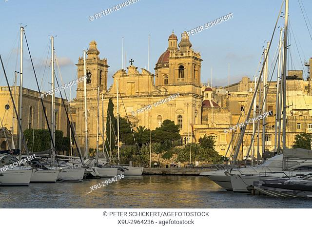Grand Harbour Marina and St. Lawrence's Church, Vittoriosa, Malta