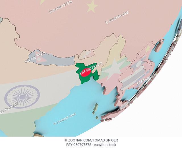 3D render of Bangladesh on political globe with embedded flag. 3D illustration