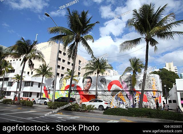Graffiti murals on Washington avenue, Miami beach, Florida, USA