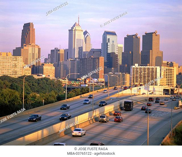 USA, Pennsylvania, Philadelphia, city view, skyline, street, multi-lane, cars