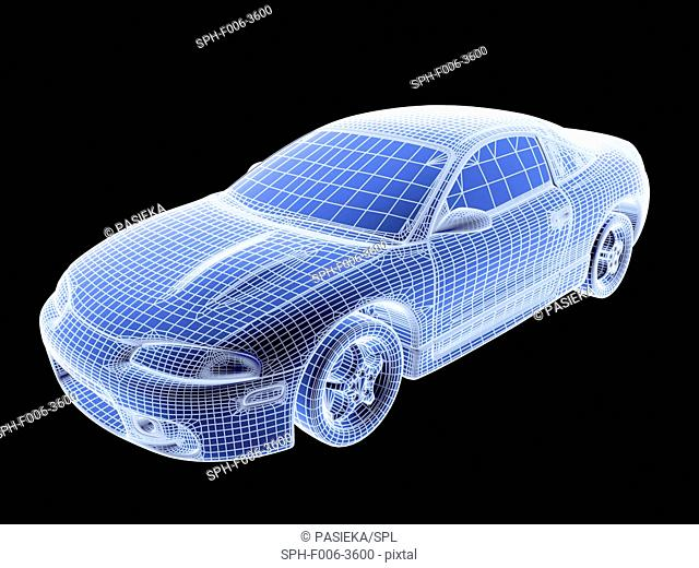 Image made by a computer aided design (CAD) package of a modern car. The image is in the form of a wire frame drawing, where the surface of the vehicle is...