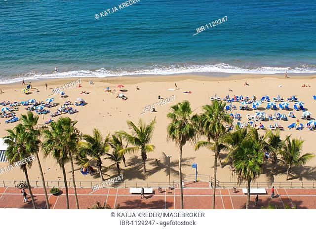 La Canteras beach in Las Palmas, Grand Canary, Canary Islands, Spain