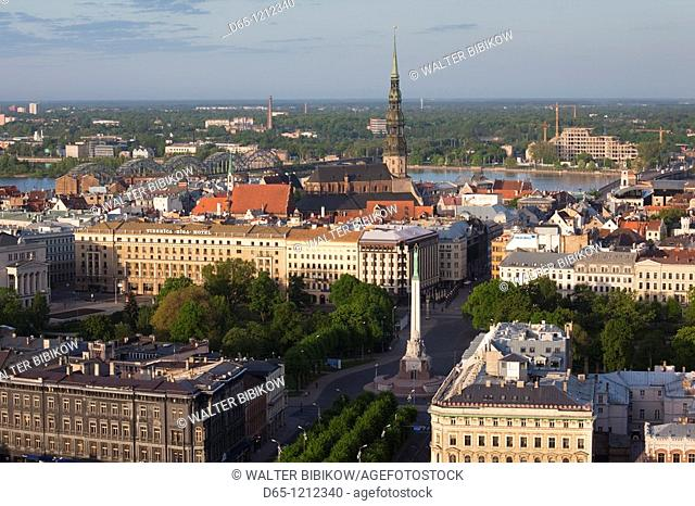 Latvia, Riga, elevated view of Old Riga, Vecriga, morning