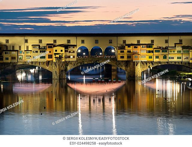 Famous bridge of Florence in the evening