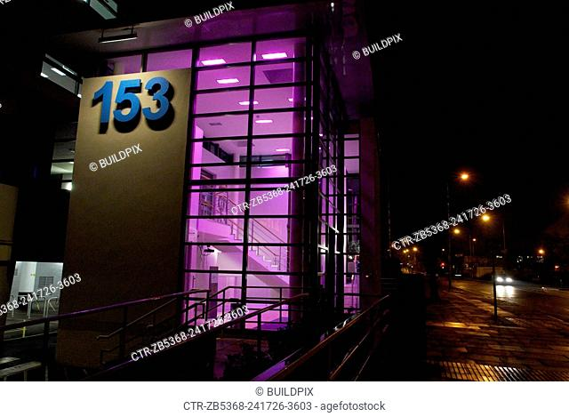Modernised office entry at night, Ipswich