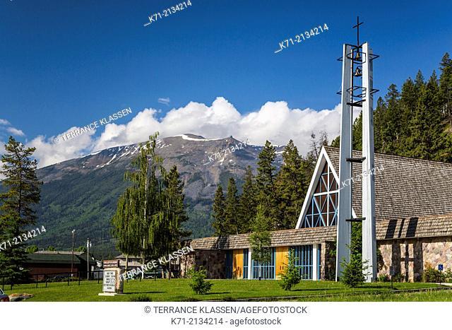 Our Lady of Lourdes Catholic Church in Jasper, Alberta, Canada