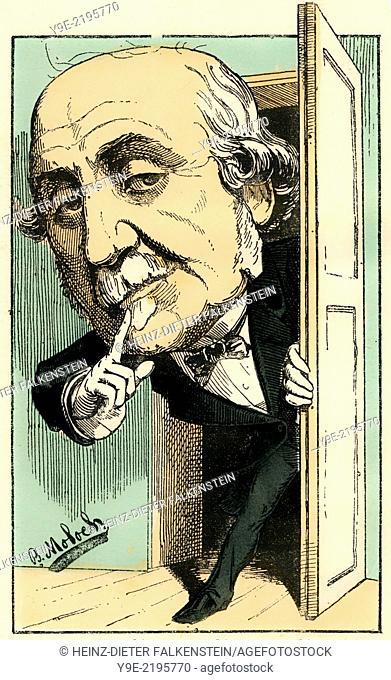 Jacques-Victor-Albert, 4th duc de Broglie, 1821 - 1901, a French monarchist politician, , Political caricature, 1882, by Alphonse Hector Colomb pseudonym B