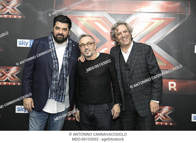The Chefs, Antonino Cannavacciuolo, Bruno Barbieri and Giorgio Locatelli at the photocall of the final night of the talent show X-Factor 2018 at the Assago...