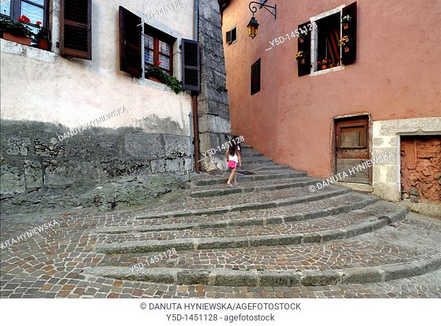 Little girl discovering new places, The Town Of Annecy, France