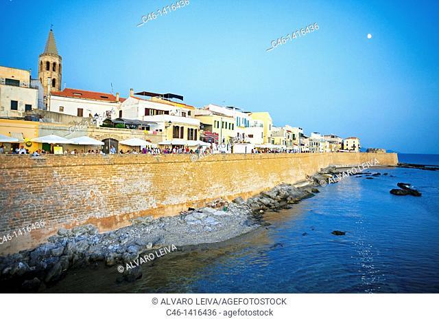 The city walls , Alghero, Sassari province, Sardinia, Italy