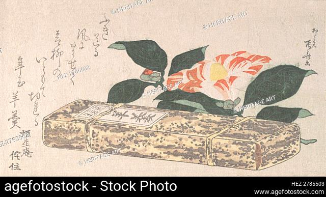Camellia Flower and Yokan (a sort of bean jelly) Wrapped in Bamboo Skin, 1811., 1811. Creator: Shinsai