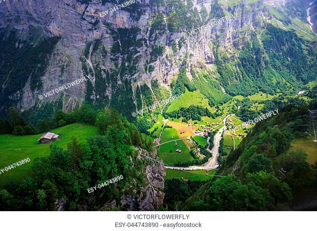 Stunning Lauterbrunnen valley rural view, bird eye view from cable car from Stechelberg to Murren Station, Lauterbrunnen, Bernese Oberland, Switzerland, Europe