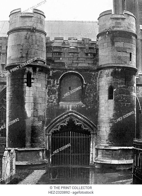 The porch, Holbeach Church, Lincolnshire, 1924-1926. All Saints Church was built in the 14th century. The building incorporated parts of a ruined castle built...