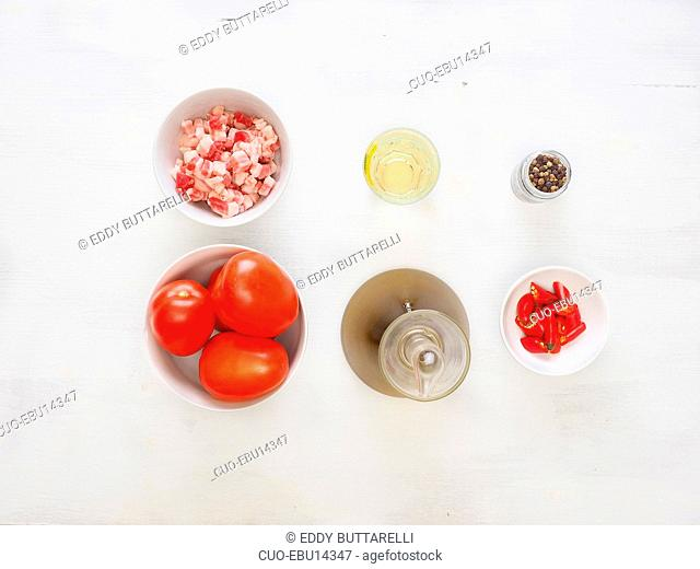 Ingredients for Amatriciana typical Lazio tomato sauce for pasta, Italy, Europe