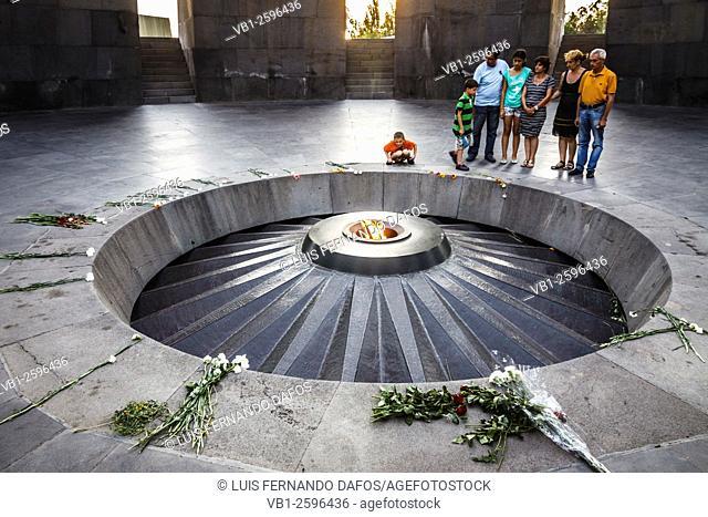 Eternal flame at the Tsitsernakaberd memorial monument of the Armenian Genocide, yerevan, Armenia
