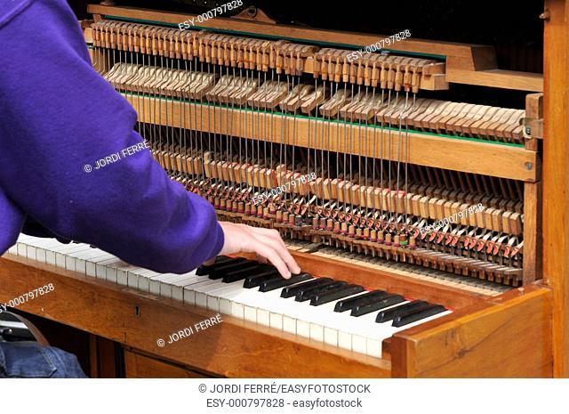 Pianist hand with old piano, Edinburgh, Scotland, United Kingdom, Europe