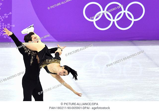 Tessa Virtue and Scott Moir of Canada in action during the ice dancing short programme at the Olympics in Gangneung, South Korea, 11 February 2018