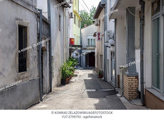 Narrow alley in Mostar city, Bosnia and Herzegovina