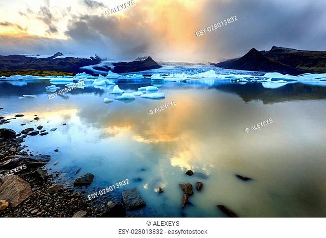 Fjallsarlon lagoon at a glacier terminus in the south of Iceland