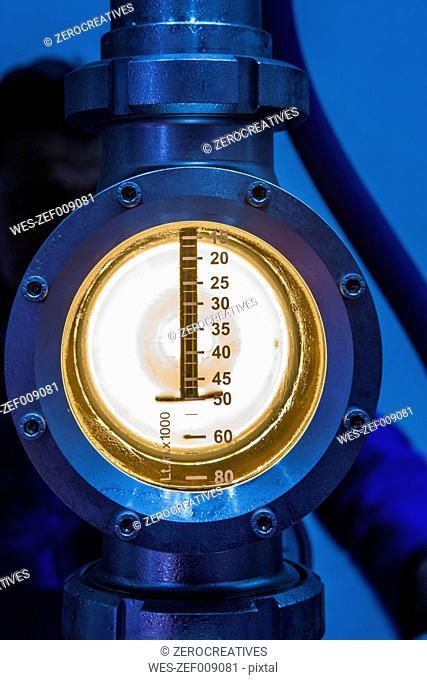 Pressure gauge in winery, close up