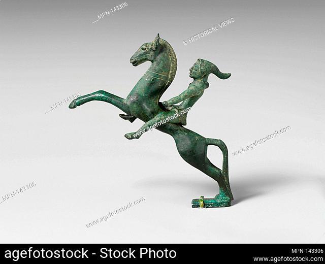 Bronze statuette of a Scythian mounted archer. Period: Classical; Date: early 5th century B.C; Culture: Etruscan, Campanian; Medium: Bronze; Dimensions: H