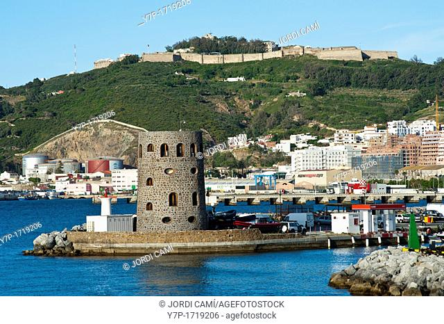 Marina entrance and Monte Hacho and fortress in background Ceuta  Spain