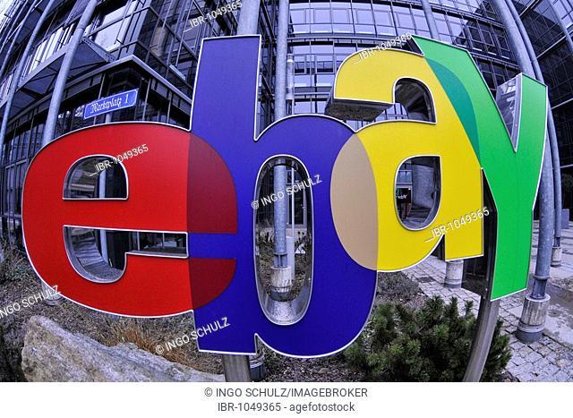 Ebay logo at the main entrance of the German headquarters in Kleinmachnow near Berlin, Germany, Europe