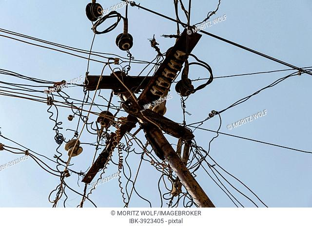 Chaotic array of power cables, Tamil Nadu, India