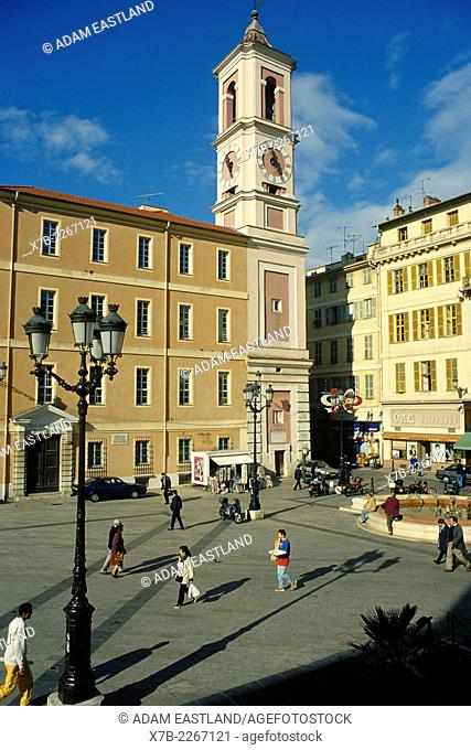 Nice. France. Place Rossetti in the old town (Vieux Nice) dominated by the Cathedrale Sainte Reparate