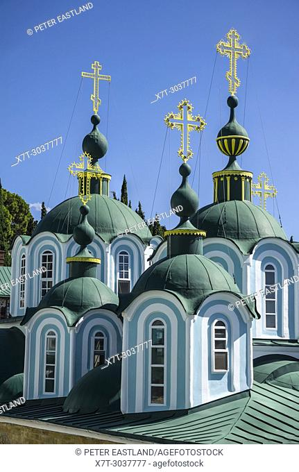 Cupolas on the Katholikon at the center of St. Panteleimon, a Russian monastery on The Athos peninsula, Macedonia, Northern Greece